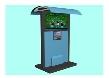 Multimedia Advertising Waterproof Kiosk, Sistem Layar Sentuh LCD Outdoor Kios dengan Shelter