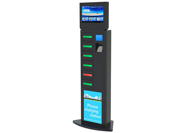 "Electronic Locker Cell Phone Charging Station with 19"" Network Advertising Player"