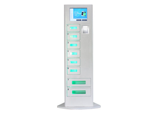 Cell Phone Recharge Station dengan LCD Touch Screen, 8 Lockers Battery Charging Stations Kiosk pemasok